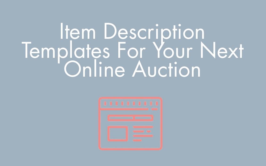item description and templates for online auctions