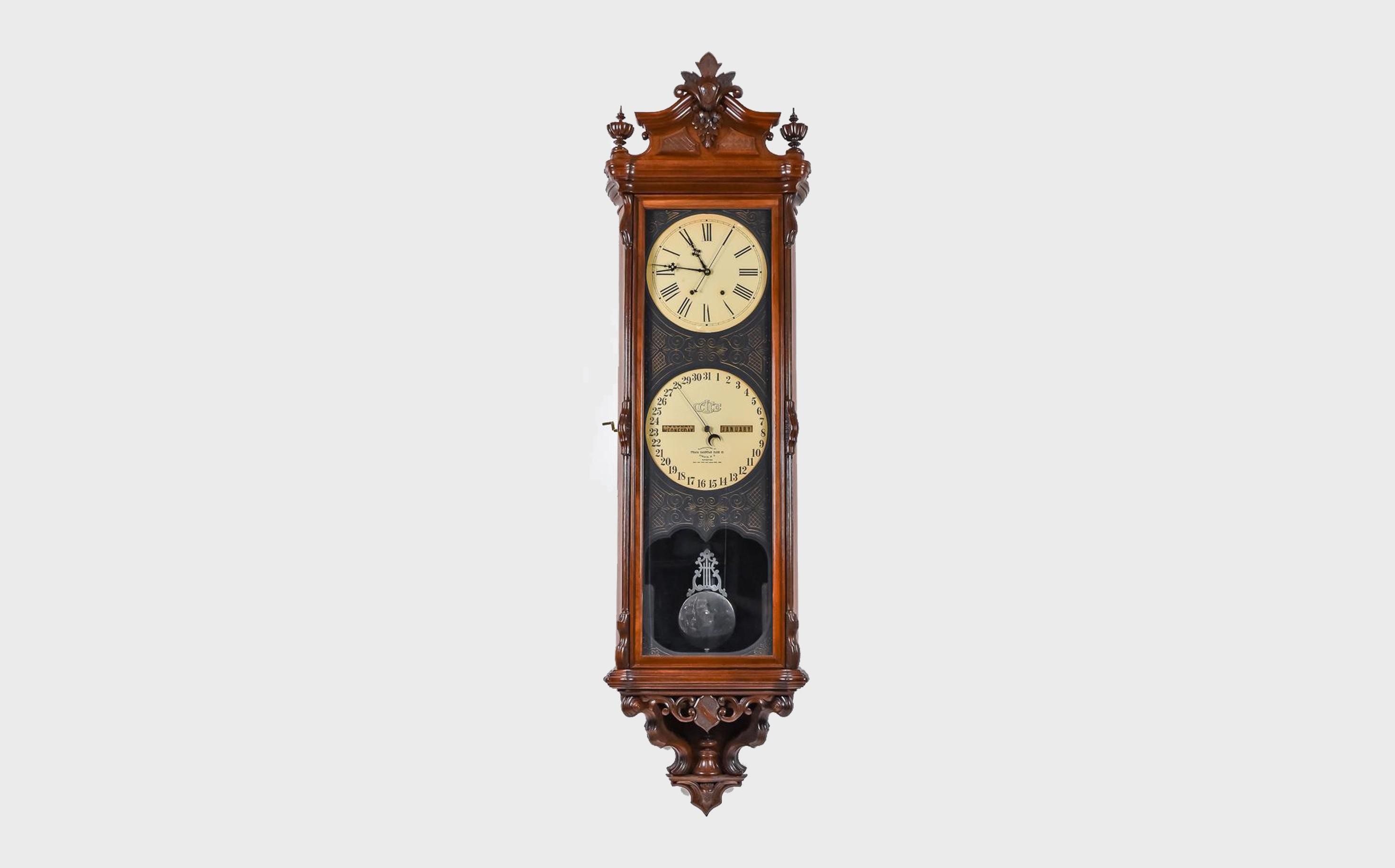 Important Ithaca No. 1 Regulator Calendar Clock